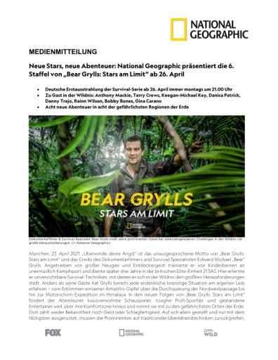 """Neue Stars, neue Abenteuer: National Geographic präsentiert die 6. Staffel von """"Bear Grylls: Stars am Limit"""" ab 26. April (FOTO)"""