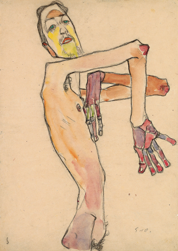 Egon Schiele, Erwin Dominik Osen als Akt mit überkreuzten Armen, 1910 © Leopold Museum, Wien, Foto: Leopold Museum, Wien/Manfred Thumberger