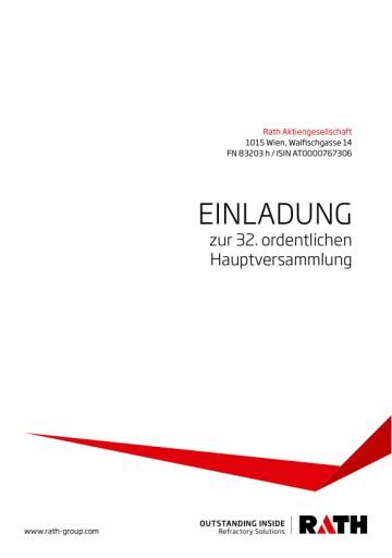 EANS-Hauptversammlung: Rath AG / Einberufung zur Hauptversammlung gemäß § 107 Abs. 3 AktG