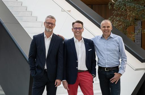 Nagarro Österreich Management, vlnr Thomas Riedl, Paul Haberfellner, Hannes Färberböck; (c) Nagarro; Abdruck honorarfrei