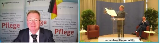 Die Verleihung fand virtuell statt: Andreas Westerfellhaus war von Berlin aus zugeschaltet, PMU-Rektor Wolfgang Sperl und Jürgen Osterbrink, Vorstand der Pflege