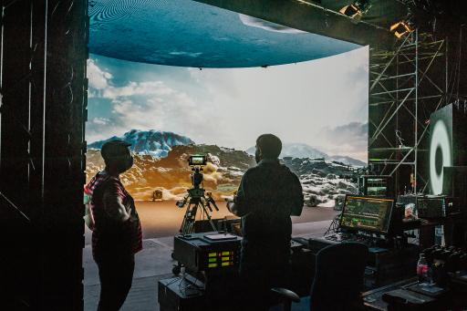 Technik-Set-up im Virtual Production Studio Vienna