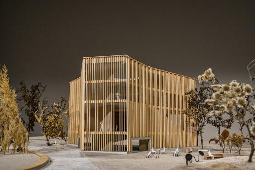 """Architekturmodell des am 3.3.2021 präsentierten Gewinnerprojekts von """"Schenker Salvi Weber Architekten ZT GmbH"""" im Rahmen des EU weiten Realisierungswettbewerbs"""