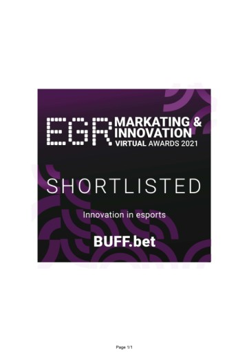 EANS-Adhoc: XB Systems sees its leading esports betting brand BUFF.bet secure EGR Awards 2021 nomination - IMAGE