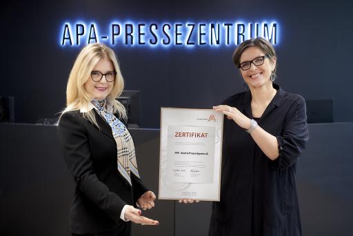 links: Monica Rintersbacher (Geschäftsführerin Leitbetriebe Austria) und Karin Thiller (Geschäftsführerin APA – Austria Presse Agentur)