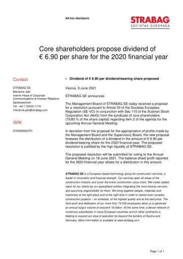 EANS-Adhoc: Core shareholders propose dividend of € 6.90 per share for the 2020 financial year