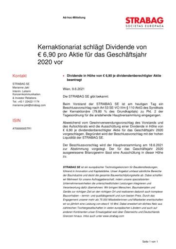 EANS-Adhoc: Kernaktionariat schlägt Dividende von € 6,90 pro Aktie für das Geschäftsjahr 2020 vor