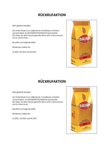 Produktrückruf: Basak Curry 100g