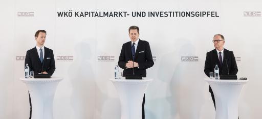 Finanzminister Gernot Blümel, WKÖ-Präsident Harald Mahrer und WKÖ-Generalsekretär Karlheinz Kopf präsentieren die Ergebnisse des WKÖ-Kapitalmarkt- und Investitionsgipfels