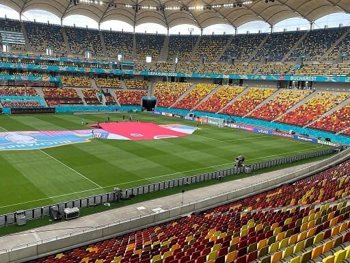 Letzte Vorbereitungen auf das Spiel Österreich : Nordmazedonien