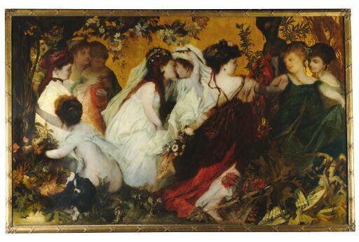 Hans Makart, Moderne Amoretten, Triptychon, signiert auf der Mitteltafel, Öl auf Leinwand, 147 x 236 cm, gerahmt