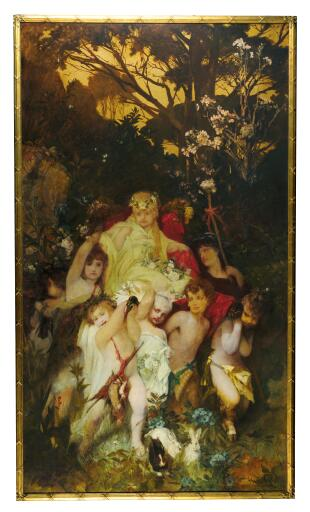 Hans Makart, Moderne Amoretten, Triptychon, signiert auf der Mitteltafel, Öl auf Leinwand, 292 x 167 cm, gerahmt