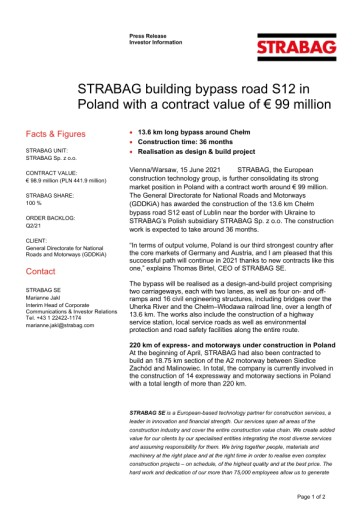 EANS-News: Strabag building bypass road S12 in Poland with a contract value of € 99 million