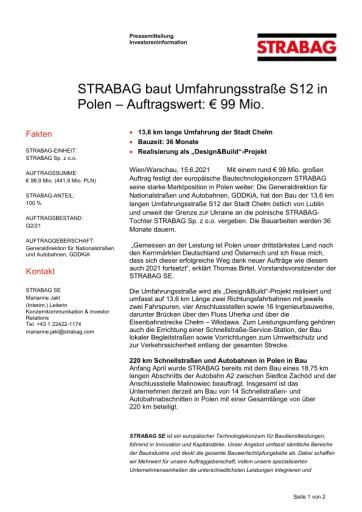 EANS-News: Strabag baut Umfahrungsstraße S12 in Polen – Auftragswert: € 99 Mio.