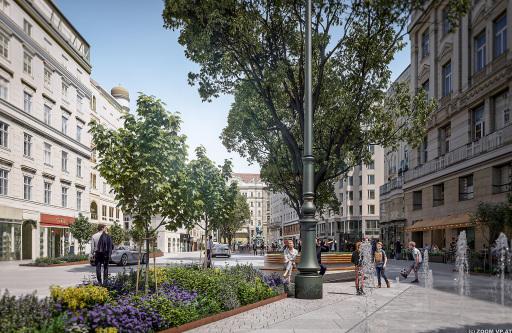 Rendering Neuer Markt, 1010 Wien Betonpflastersteine und Drainbeton verhindern, dass Regenwasser ungenutzt in die Kanalisation abfließt. Es kann zum Großteil direkt vor Ort versickern und wird zur Bewässerung von Grünflächen, Pflanztrögen und Baumgruben genutzt.