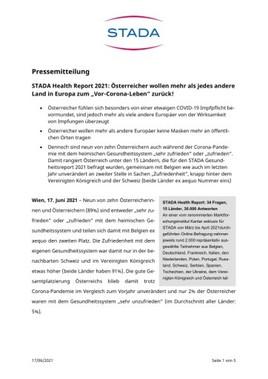 """STADA Health Report 2021: Österreicher wollen mehr als jedes andere Land in Europa zum """"Vor-Corona-Leben"""" zurück!"""