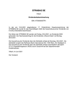 EANS-Hauptversammlung: STRABAG SE / Ergebnisse zur Hauptversammlung