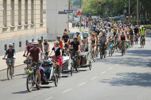 """""""Politik werd' endlich wach, Radweg jetzt am Krottenbach!"""" Trotz großer Hitze demonstrierten 250 Menschen für einen sicheren Radweg in der Krottenbachstraße. Nach erfolgreicher Petition wurde ein zweites starkes Zeichen gesetzt: Jetzt ist die Politik gefordert, endlich zu handeln."""