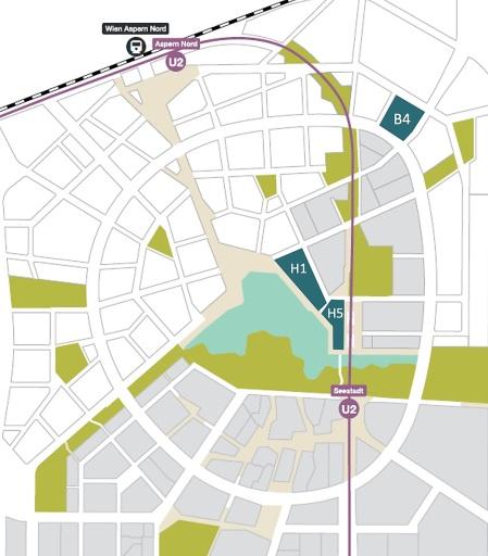 Lageplan der Baufelder Pier 01, Pier 05 und aspern Manufactory (B4)