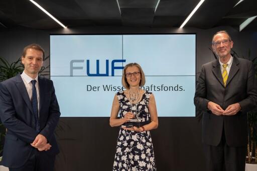 FWF-Präsident Christof Gattringer, Wittgenstein-Preisträgerin 2021 Monika Henzinger, Wissenschaftsminister Heinz Faßmann (v.l.n.r.)