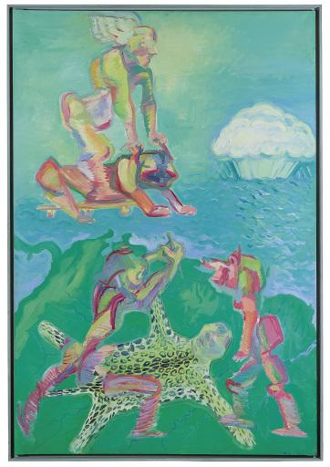 monogrammiert, datiert M. L. 1980, Öl auf Leinwand, 306 x 209 cm, versteigert für Euro 1.367.800 im Dorotheum am 23. Juni 2021