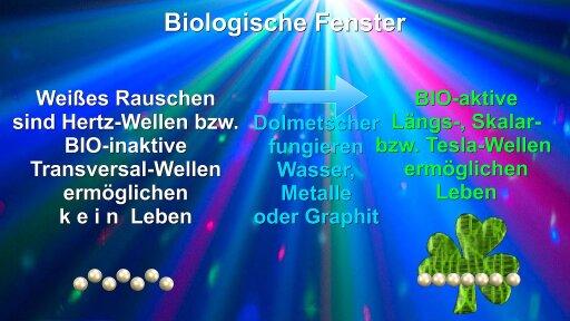 """Schema: Umsetzung des """"Weißen Rauschens"""" via Wasser oder Metall in bioaktive Längswellen."""