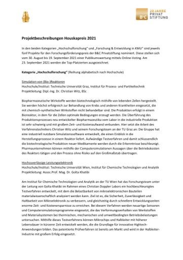 B&C Privatstiftung: Zehn Projekte für den Houskapreis 2021 nominiert