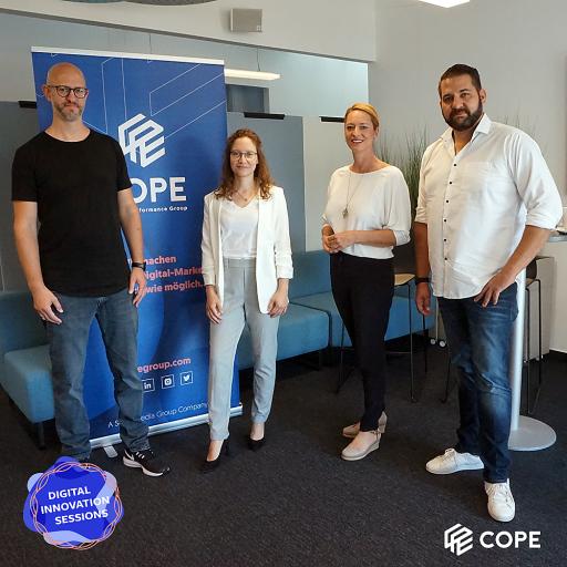 Bernd Schuh (Data & eCommerce Strategist bei COPE), Pauline Schreuder (Marketing Managerin bei Nespresso), Xenia Daum (Geschäftsführerin bei COPE) & Philip Hartmann (Head of eCommerce & Digital Marketing bei Samsung Austria)