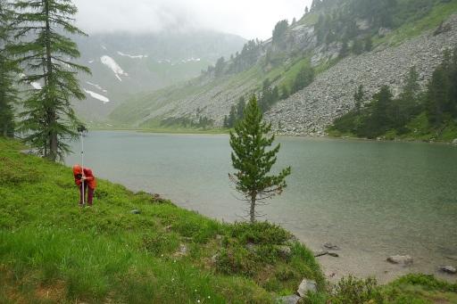 Aufbau eines Ultraschalldetektors bei Schlechtwetter am Karwassersee in Muhr. Trotz des massiven Schlechtwetters waren die Expert*innen äußerst kreativ und konnten viele Arten nachweisen.