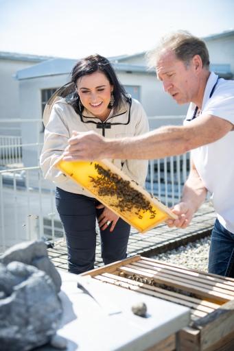 Landwirtschaftsministerin Elisabeth Köstinger mit dem Imker des BMLRT bei den hauseigenen Bienen