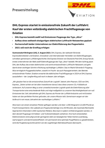 DHL Express startet in emissionsfreie Zukunft der Luftfahrt: Kauf der ersten vollständig elektrischen Frachtflugzeuge von Eviation