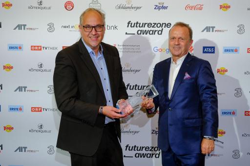 Gerry Foitik und Thomas Prantner beim futurezone Award
