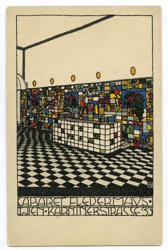 "Josef Hoffmann, WW-Postkarte Nr. 75, Barraum ""CABARET FLEDERMAUS, WIEN, KÄRNTNERSTRASSE 33"", Wien, 1907"