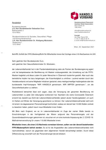Offener Brief: Lebensmitteleinzelhandel fordert Entfall der FFP2-Maskenpflicht für Beschäftigte bei Vorlage eines 2-G-Nachweises