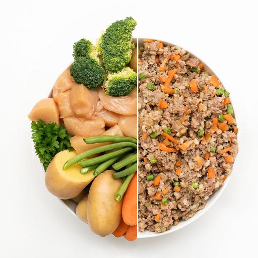 Zutaten für gesunde Bio-Tiernahrung, vor und nach Verarbeitung