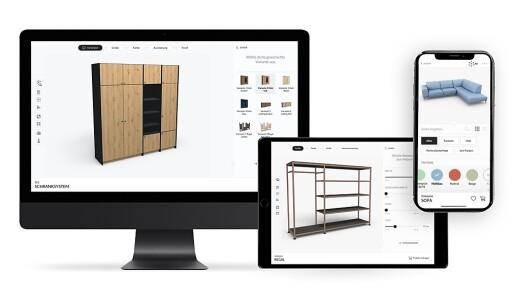 Möbelkäufer konfigurieren ihre Wunschmöbel auf Smartphone, Tablet oder Laptop in allen Details, Farben und Materialkombinationen, betrachten das Ergebnis in 3D aus allen Blickwinkeln und können es sogar mittels Augmented Reality im tatsächlichen Raumkontext überprüfen.
