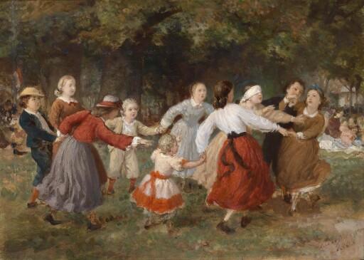 """Ferdinand Laufberger, """"Das Blinde-Kuh-Spiel"""", Wien, 1865, Öl auf Leinwand"""