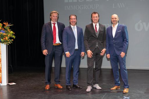 v.l.n.r.: Sponsoren: Markus Busta (HSP.LAW), Michael Schmidt (3SI Immogroup), Andreas Millonig (IMMOunited), Daniel Dworak (willhaben)
