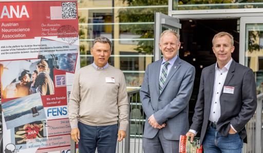 ANA-Präsident Francesco Ferraguti, PMU-Rektor Wolfgang Sperl und Sébastien Coulliard-Després (ANA-Bordmember)